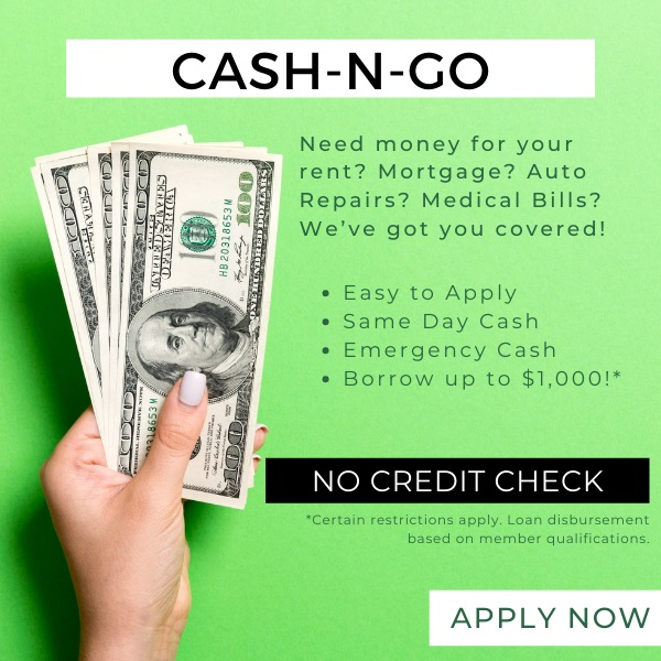 Cash-n-go! Need money for your rent? Mortgage? Auto Repairs? Medical Bills? We've got you covered! Borrow up to $1,000!* Click for more details!