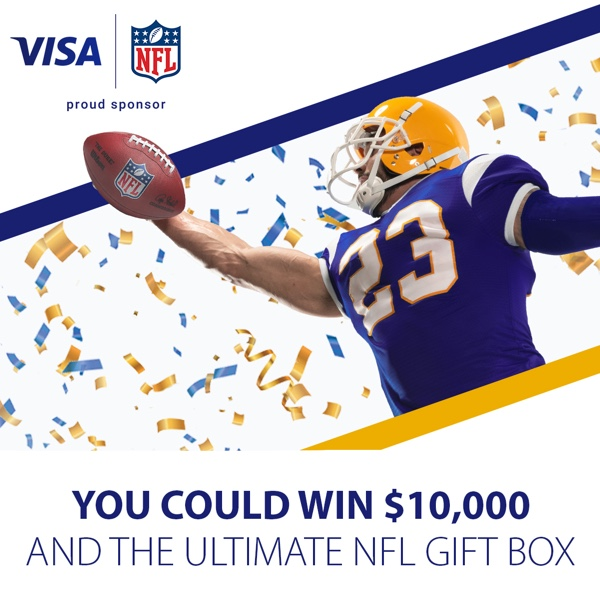 VISA NFL Sweepstakes! You could win $10,000 and the ultimate NFL Gift Box! Click for official rules!