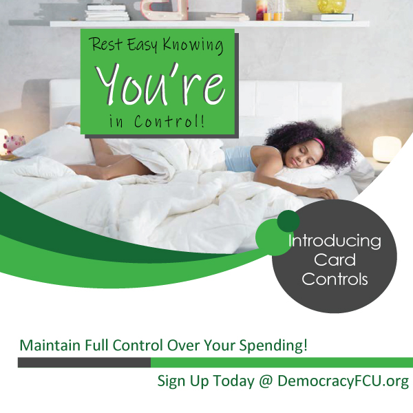 Rest easy knowing you are in full control. Introducing card controls. Sign up today!